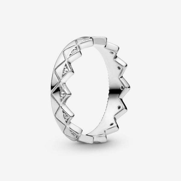 Pandora Ring 56 - Geometrische Krone - Silber / 198033CZ-56