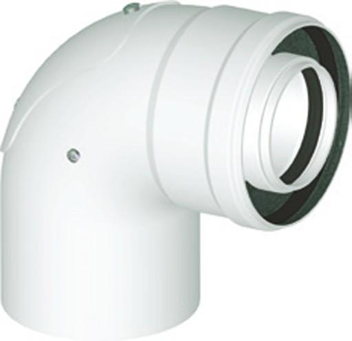 Koaxialbogen 90° mit Revisionsöffnung DN 60/100 Universal Abgaszubehör Formteile Brennwertkessel