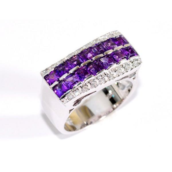 Juwelier Wittig Ring 56 - Weißgold 750 - Amethyst - Brillanten / PDDF 230