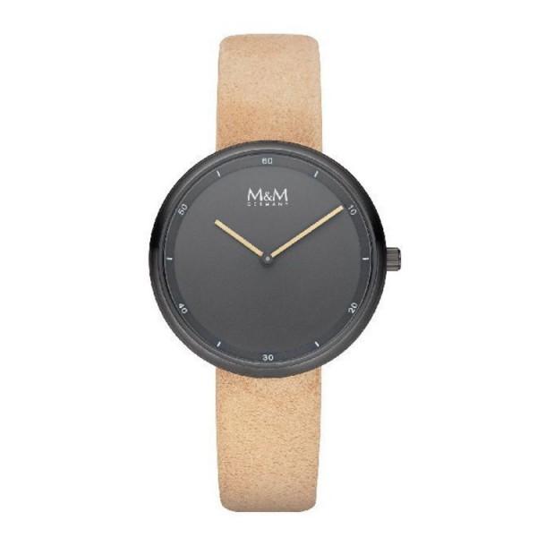 M&M Germany Uhr Dame - Circle Line - schwarz Leder camel / M11955-599