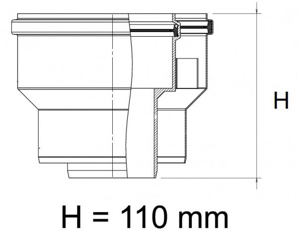 Adapter DN 60/100- 80/125 für Kesselanschlussstück Universal Abgassystem Brennwert