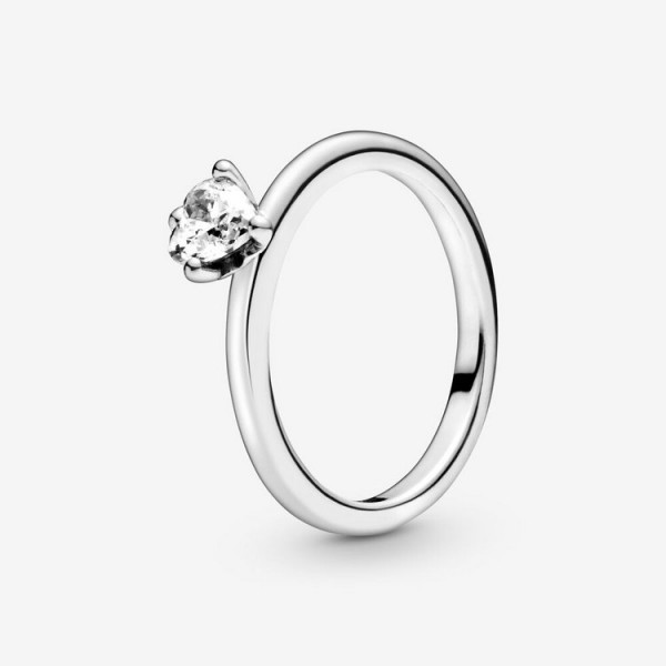 Pandora Ring 54 - Sterlingsilber - Clear Heart Solitaire / 198691C01-54