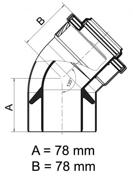 Koaxialbogen 45° DN 60/100 Universal Abgaszubehör Formteile Brennwertkessel