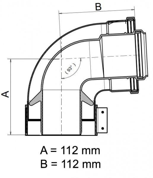 Kesselanschlussstück 90° Bogen DN 60/100 PP/AL kompatibel zu Vaillant Brennwertabgassystem Gerätefla